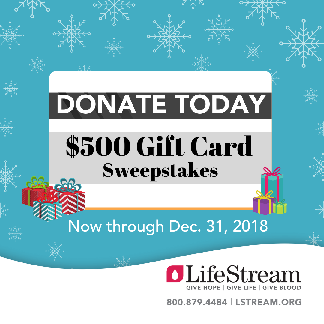 Donate Blood Enter To Win A 500 Gift Card